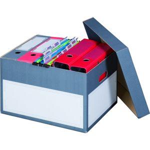10 x Archivboxen Archivschachteln Ordnerkartons mit Deckel für bis zu 5 Ordner (max. 75 mm) in edlem Anthrazit