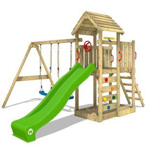 WICKEY Spielturm Klettergerüst MultiFlyer Holzdach mit Schaukel & apfelgrüner Rutsche, Kletterturm mit Holzdach, Sandkasten, Leiter & Spiel-Zubehör