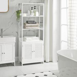 VASAGLE Badezimmerschrank, 60 x 32,5 x 154 cm, Badschrank, Hochschrank, Bücherregal, mit 3 offenen Regalebenen und 2 Türen, mattweiß BBC82WT