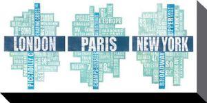 Städte Poster Leinwandbild Auf Keilrahmen - London Paris New York, Berühmte Straßen (50 x 100 cm)