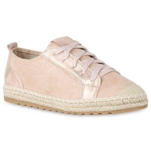 Mytrendshoe Damen Plateau Sneaker Bast Glitzer Turnschuhe Freizeit Schuhe 822114, Farbe: Rosa, Größe: 37