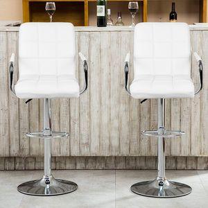 2er Set Barhocker Tresenhocker aus Kunstleder, Barstuhl mit Lehne und Armlehnen Höhenverstellbar -Weiß
