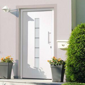 CLORIS Zimmertür Haustür - Aluminium und PVC Weiß 100x200 cm #DE901640