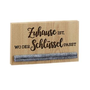 Schlüsselbrett Schlüssel Motiv `Zuhause ist, wo der Schlüssel passt`  ca.24x14cm aus Holz / Filz Schlüsselboard Schlüsselhalter Schlüsselleiste