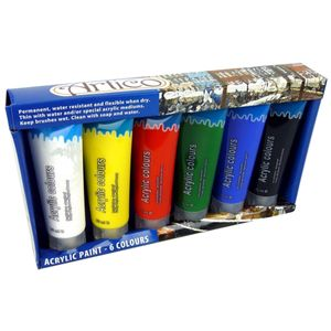 Acrylfarben Farben Malfarben 6 Tuben a 75ml Malfarbe Künstlerfarbe Farbe Malen