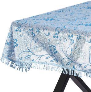 WOLTU Gartentischdecke Weichschaum Tischdecke mit Quaste geschäumt 3D Druck eckig 110x140 cm Hellblau Bedruckt