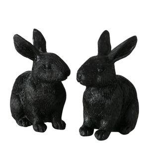 Figur Snuppy 2fach sort. Deko-Hase H8cm Kunstharz schwarz Ostern