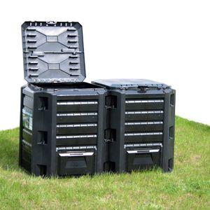 Pro® Gartenkomposte Gartenkomposter Multifunktionale Schwarz 380 L Kompostierung,Komposter Gartenkomposter Thermokomposter Schnellkomposter🍒2114