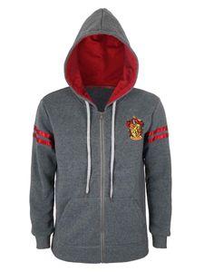 Harry Potter Zip Hoodie   Gryffindor Kapuzen Pullover mit Reißverschluss   Grau   Größe: S