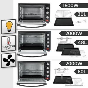 Jago® Minibackofen mit Umluft - Innenbeleuchtung, elektrisch, Doppelglastür, Timer, 100 - 230 °, 1600W, 30L, 5 Heizarten, 3 Einschubhöhen, Schwarz - Mini Backofen, Mini-Küche, Grillofen, Pizza-Ofen