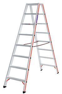 Hymer Stufenstehleiter, beidseitig begehbar, 2x8 Stufen, senkr. Höhe 1,85 m, Reichhöhe 3,38 m, Gewicht 10,5 kg