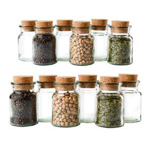 12er Set Gewürzgläser 150ml + Korken, Aufbewahrung von Tee, Kräutern & Gewürzen