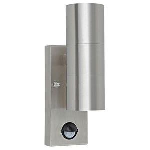 LED Wandleuchte, Edelstahl, Bewegungsmelder, H 22 cm