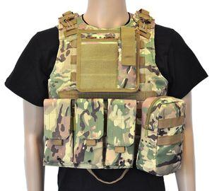 Taktische Einsatzweste | Plattenträger Schutzweste | MOLLE System | Plate Carrier | Farbe: Flecktarn