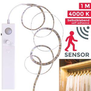 LED Band Bewegungsmelder Batterie Stripes Lichterkette Lichtleiste LED Bänder Lichterkette weiß selbstklebend IP20 B.K.Licht