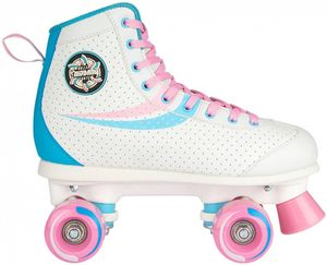 Nijdam Damen Rollerskates Retro Swirl Weiß/Hellblau/Hell Rosa, Größe:38