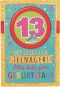 Originelle Klappkarte mit Zahlen Geburtstagskarte Zahlenmotiv zum 13. Geburtstag