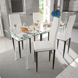 Essgruppe Weiß Slim Line 4 Stühle und 1 Glastisch