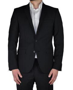 Daniel Hechter - Slim Fit - Herren Baukasten Anzug aus 100% Schurwolle in Blau oder Schwarz  (100102), Größe:44, Farbe:Schwarz (990)