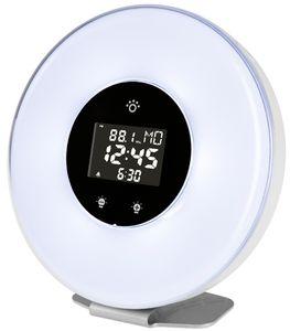Lichtwecker mit Melodiealarm + Radio, LED-Stimmungslicht (dimmbar)