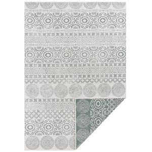 Teppich Boss Flachgewebe Wendeteppich Ornato für In- & Outdoor (100% Polypropylen, UV- und Witterungsbeständig, Fußbodenheizung geeignet), Größe:80x150 cm, Farbe:grün/creme