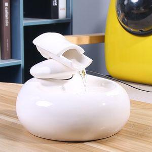 Meco Trinkbrunnen Elektrischer Katze Water Keramik Automatischer Wasserspender White