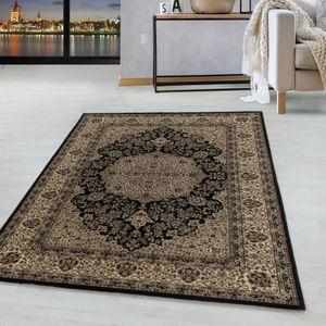 Kurzflor Orient Teppich Klassik Design Antike Nain Wohnzimmer Teppich Schwarz, Farbe:Schwarz, Grösse:200x290 cm