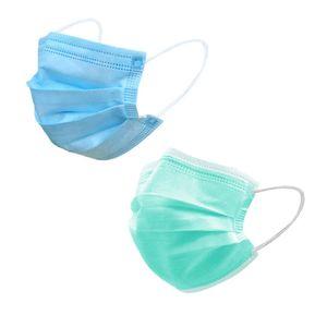 100 Stück Einwegmasken, Kindermasken, dreischichtiger Schutz, staubdichte Masken für Schüler und Kinder (50 blau + 50 grün)