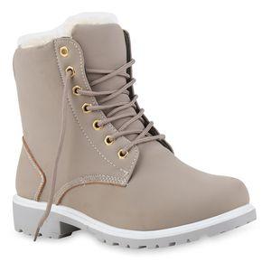 Mytrendshoe Warm Gefütterte Worker Boots Damen Outdoor Stiefeletten Robust 814346, Farbe: Grau, Größe: 39