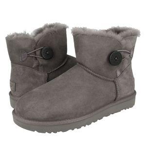 UGG Mini Bailey Button II Boot Stiefel Damen Grau (1016422 GREY) Größe: 40 EU