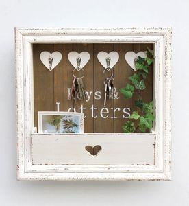 Wandorganizer Vintage Schlüsselbrett Holz mit Ablage 93857 Weiß 40cm Schlüsselboard Briefablage Schlüsselkasten Shabby Chic Memoboard
