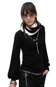 Slmn Japan Style von Mississhop DAMEN BLUSE LONGSHIRT mit Rollkragen TUNIKA Pullover Schw.-Weiß L