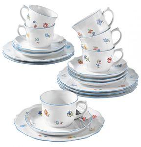SELTMANN WEIDEN Kaffeeservice Sonate Streublume blau/weiß Porzellan Sonate Streublume mikrowellengeeignet/spülmaschinengeeignet