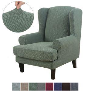 Jacquard Ohrensessel Schonbezug, Elastische Sesselbezug Sesselüberwurf Sofaüberwurf Stretch Schutzhülle mit Modern Muster Sessel Husse für Ohrensessel (Hellgrün)