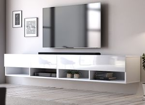 TV-Lowboard Epsom in weiß Hochglanz XL Flat TV Unterteil hängend 200 cm Board als Hängeschrank