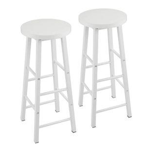 WOLTU 2er-Set Barhocker Bistrohocker Tresenhocker Barstuhl, Gestell aus stabilem Stahl, Sitzfläche aus MDF, weiß