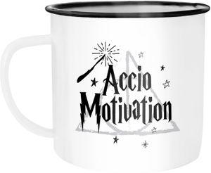 Emaille Tasse Becher Accio Motivation Zauberspruch Spruch Kaffeetasse Moonworks® weiß-schwarz unisize