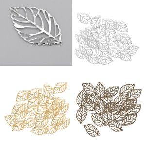 90 Stücke Tibet Silber Blatt Charms Anhänger Schmuckanhänger Zwischenring Spacer Beads