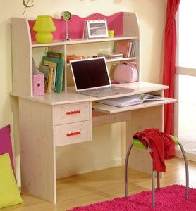Kinderschreibtisch Mädchentisch 2257-BUR1 in Kiefer-Weiss / Absetzungen Pink