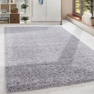 Shaggy Hochflor Langflor Teppich Soft Wohnzimmerteppich Hellgrau Einfarbig, Grösse:160x230 cm