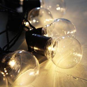 Lichterkette 1,5 Meter/10 LED Deko Glühbirnen Warmweiß Transparent Durchsichtig für Weihnachten Party Deko Schmuck Fensterdeko Girlande Dekoration batteriebetrieben mit Batteriebox Akkubox