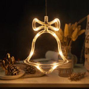 2 Stücke LED Glocken Lichterkette Fensterlicht mit Saugnapf Für Party Weihnachten Hängende Fenster Deko