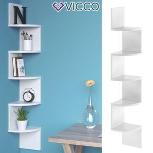 Vicco Eckregal SNAKE Weiß - Hängeregal Wandregal Bücherregal Regal Design