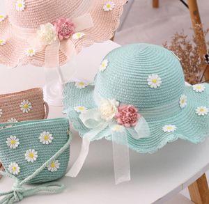 Kinder Strohhut und Kleine Tasche Set Mädchen Sommer Sonnenhut mit Blumendekoration für den Urlaub Reise Outdoor-Aktivitäten-Blau