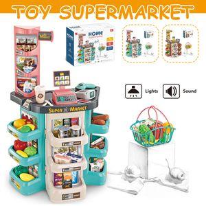 Meco Supermarkt Kinder Laden Zubehör mit Einkaufskorb Licht Sound Supermarkt Kinder Laden Zubehör Einkaufswagen