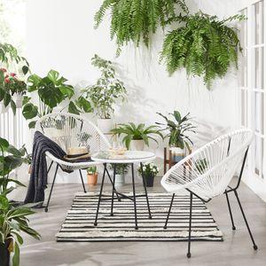 SONGMICS Gartenmöbel-Set丨3er-Set Tisch mit Glasplatte und 2 Stühle丨Lounge-Set aus Polyrattan丨Innen- und Außenbereich weiß GGF013W01