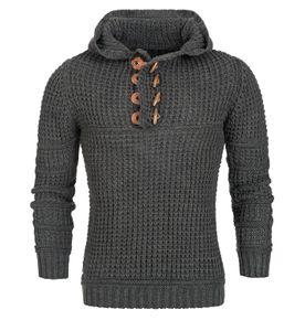 Herren Strick Pullover Hoodie Shirt Grobstrick Norweger, Farben:Anthrazit, Größe Pullover:M