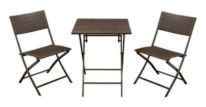 DEGAMO Gartenset Sitzgruppe Bistroset ROSSANO 3-teilig klappbar, Metall + Polyrattan braun bicolor