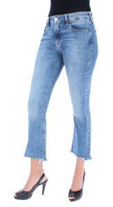 Herrlicher Super G Boot Cropped Damen 7/8 Jeans gefranster Saum, Herrlicher Farben:surfer blue - Denim Stretch 6520, Herrlicher Jeans:W24
