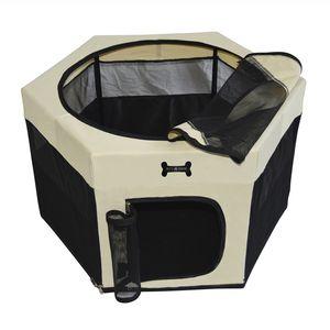 MC Star Faltbarer Welpenlaufstall Welpenauslauf Hundehütte Tierlaufstall Haustier Zelt für Hunde, Katzen, Hasen (Schwarz, 90*90*61CM)